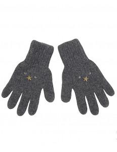 Перчатки зимние темно-серого цвета со звездами ДИМКА