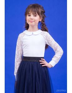 """Блузка белого цвета с отложным воротником """"Стиль кружево"""""""